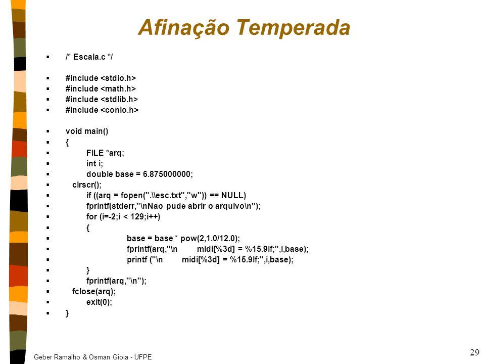 Geber Ramalho & Osman Gioia - UFPE 29 Afinação Temperada  /* Escala.c */  #include  void main()  {  FILE *arq;  int i;  double base = 6.8750000