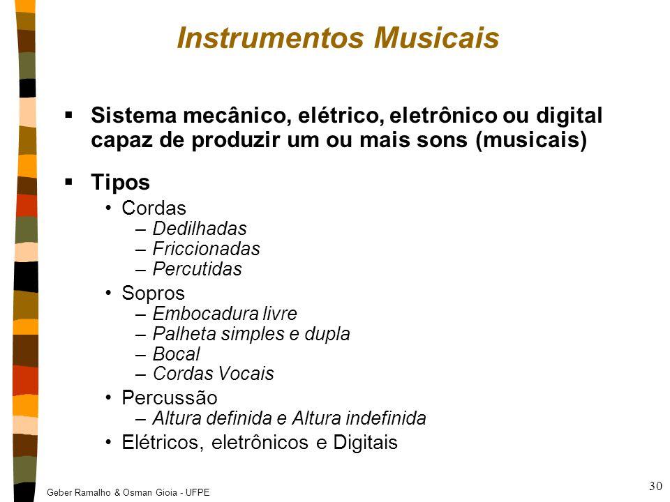 Geber Ramalho & Osman Gioia - UFPE 30 Instrumentos Musicais  Sistema mecânico, elétrico, eletrônico ou digital capaz de produzir um ou mais sons (mus