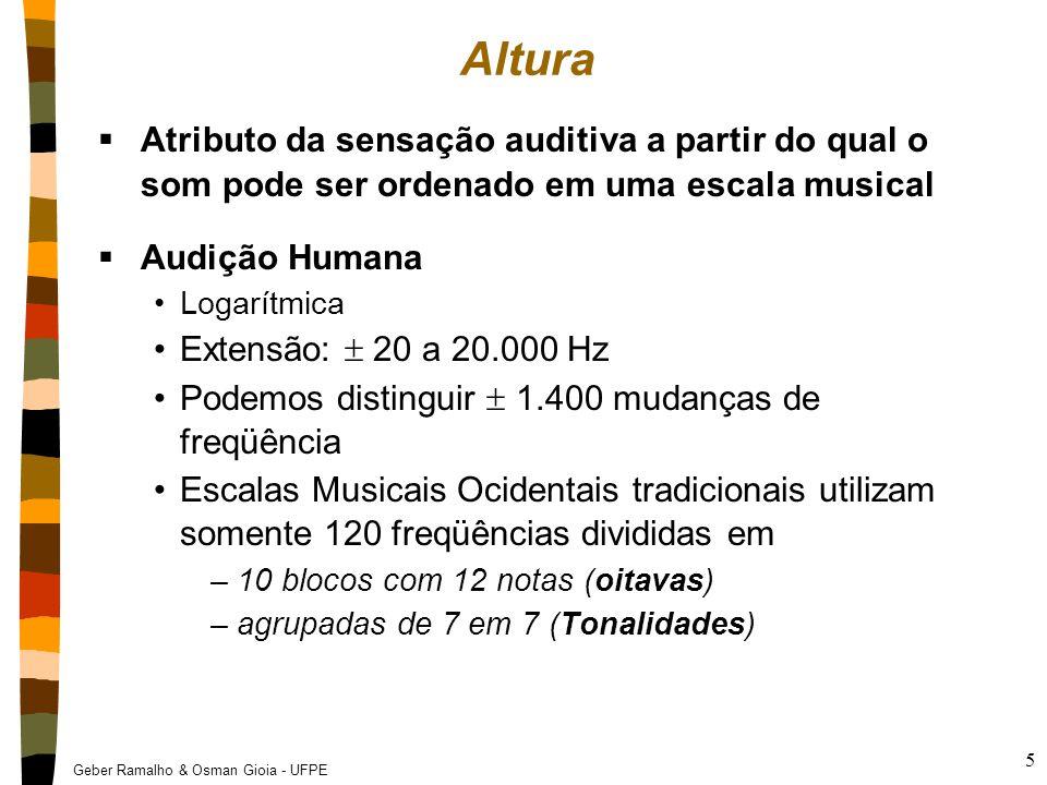 Geber Ramalho & Osman Gioia - UFPE 6 66 Hz Freqüência 89 Hz 132 Hz 198 Hz 264 Hz Oitava  Intervalo entre duas freqüências com razão 2:1  Sensação auditiva de mesma nota em alturas diferentes Dó1 Ré1 Mi1 Fá1 Sol1 Lá1 Si1 Dó2 Ré2 Mi2