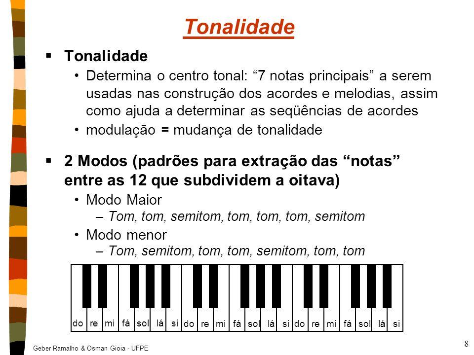 """Geber Ramalho & Osman Gioia - UFPE 8 Tonalidade  Tonalidade Determina o centro tonal: """"7 notas principais"""" a serem usadas nas construção dos acordes"""