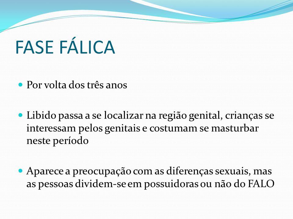 FASE FÁLICA Por volta dos três anos Libido passa a se localizar na região genital, crianças se interessam pelos genitais e costumam se masturbar neste