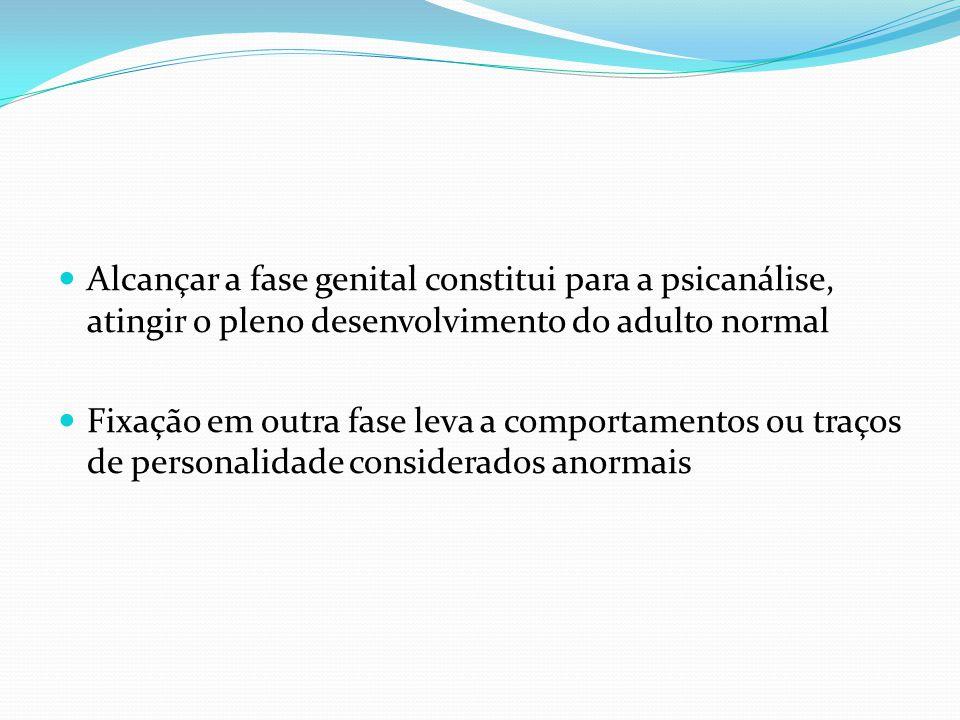 Alcançar a fase genital constitui para a psicanálise, atingir o pleno desenvolvimento do adulto normal Fixação em outra fase leva a comportamentos ou