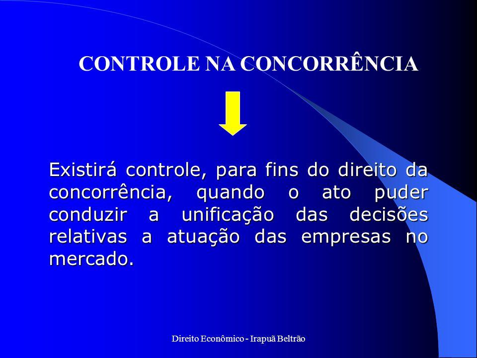 Direito Econômico - Irapuã Beltrão Existirá controle, para fins do direito da concorrência, quando o ato puder conduzir a unificação das decisões rela