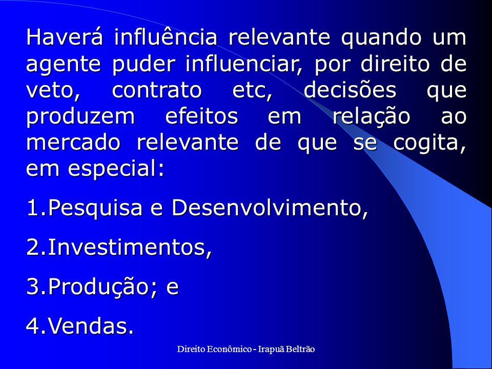 Direito Econômico - Irapuã Beltrão Haverá influência relevante quando um agente puder influenciar, por direito de veto, contrato etc, decisões que pro