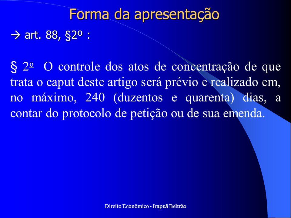 Direito Econômico - Irapuã Beltrão Forma da apresentação  art. 88, §2º : § 2 o O controle dos atos de concentração de que trata o caput deste artigo