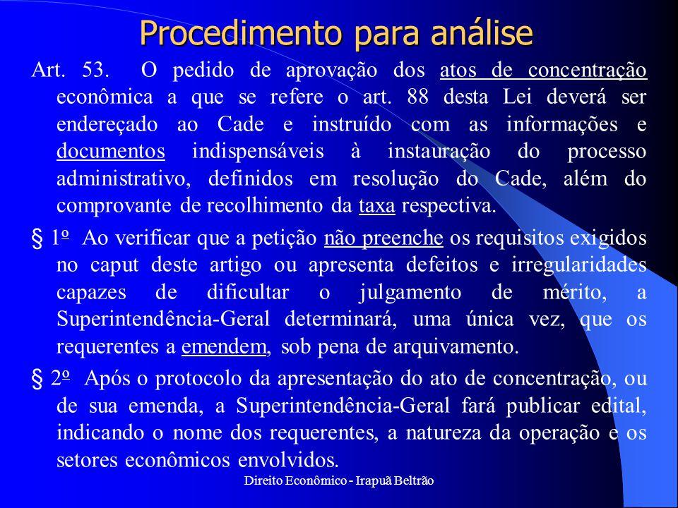 Direito Econômico - Irapuã Beltrão Procedimento para análise Art. 53. O pedido de aprovação dos atos de concentração econômica a que se refere o art.