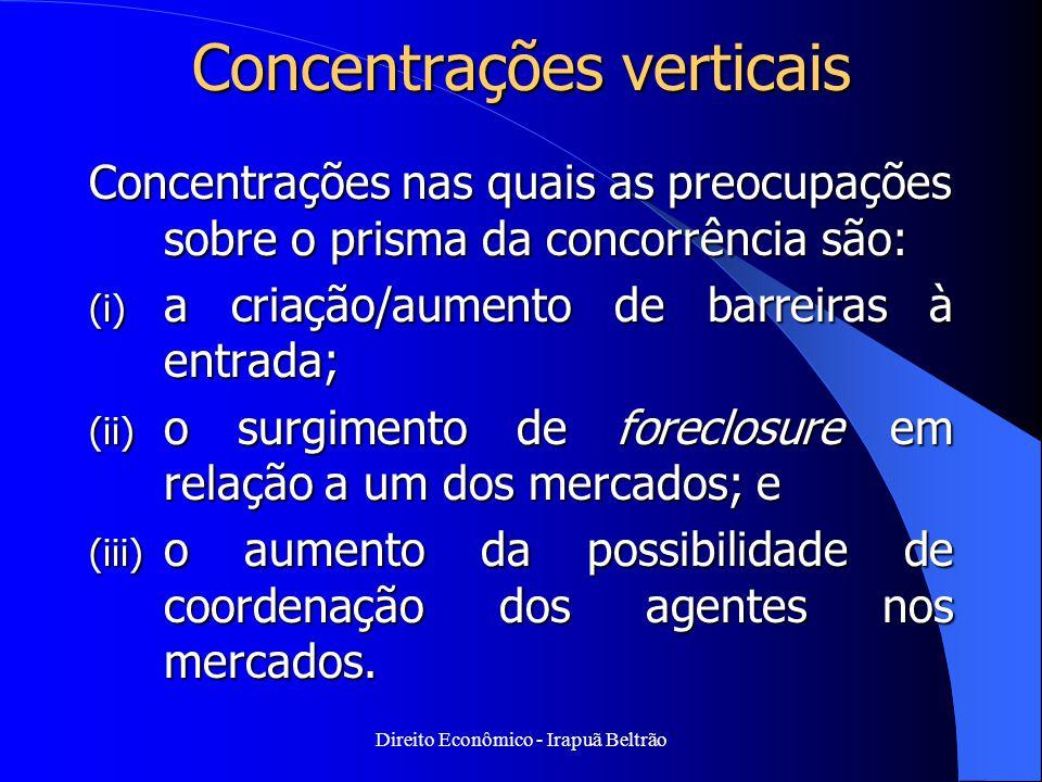 Direito Econômico - Irapuã Beltrão Concentrações verticais Concentrações nas quais as preocupações sobre o prisma da concorrência são: (i) a criação/a