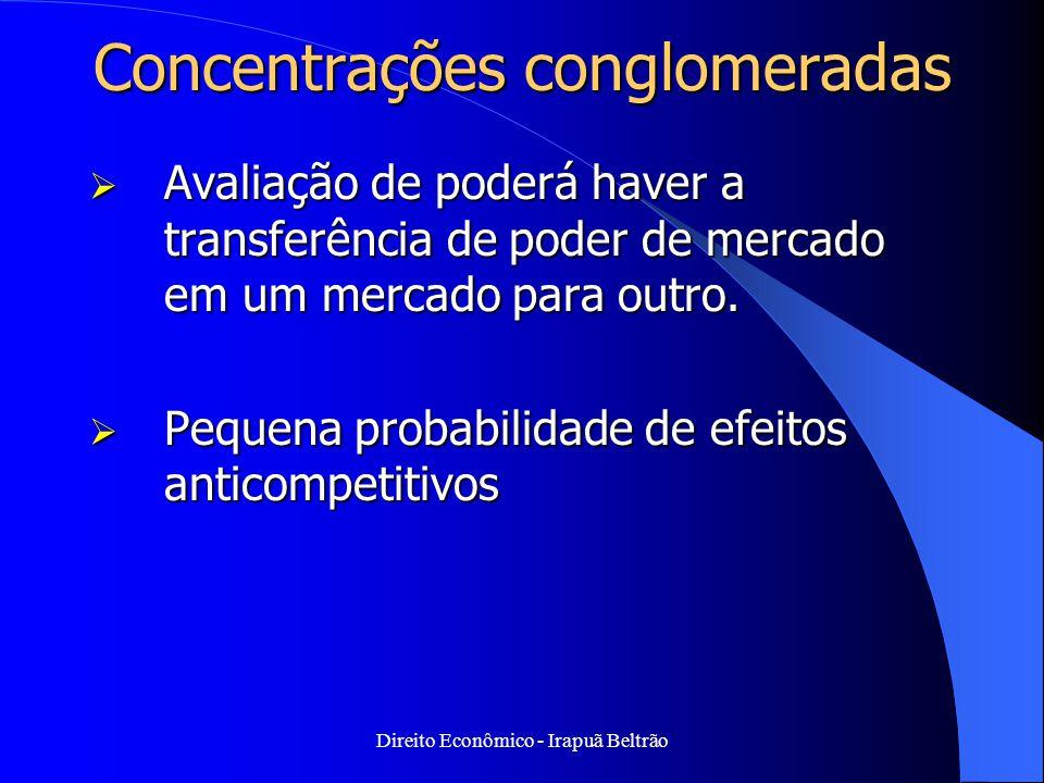 Direito Econômico - Irapuã Beltrão Concentrações conglomeradas  Avaliação de poderá haver a transferência de poder de mercado em um mercado para outr