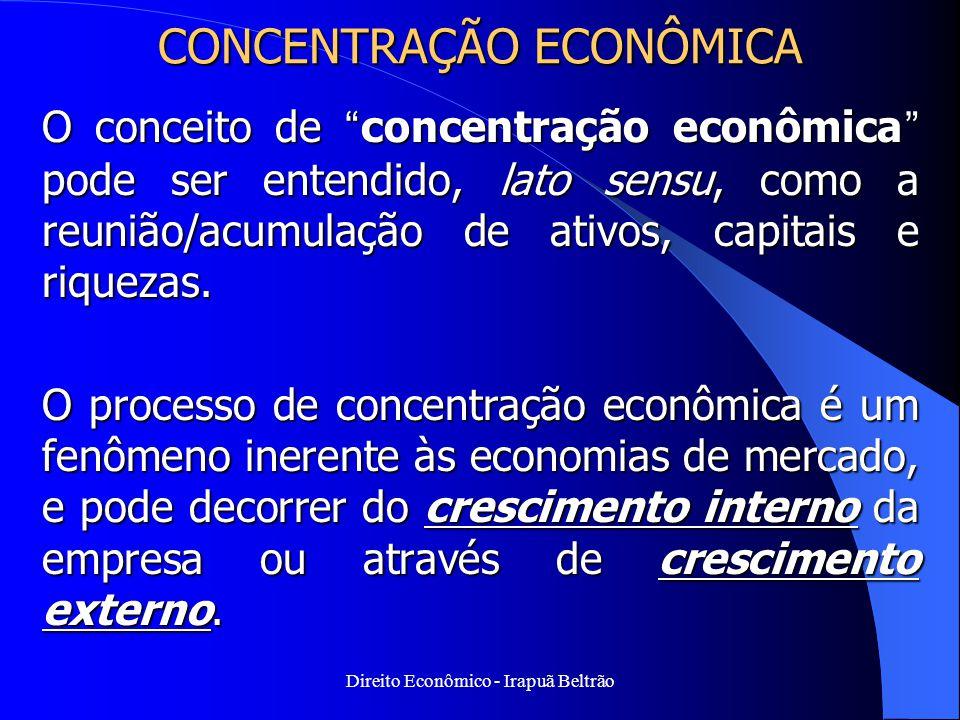 """Direito Econômico - Irapuã Beltrão CONCENTRAÇÃO ECONÔMICA O conceito de """"concentração econômica"""" pode ser entendido, lato sensu, como a reunião/acumul"""