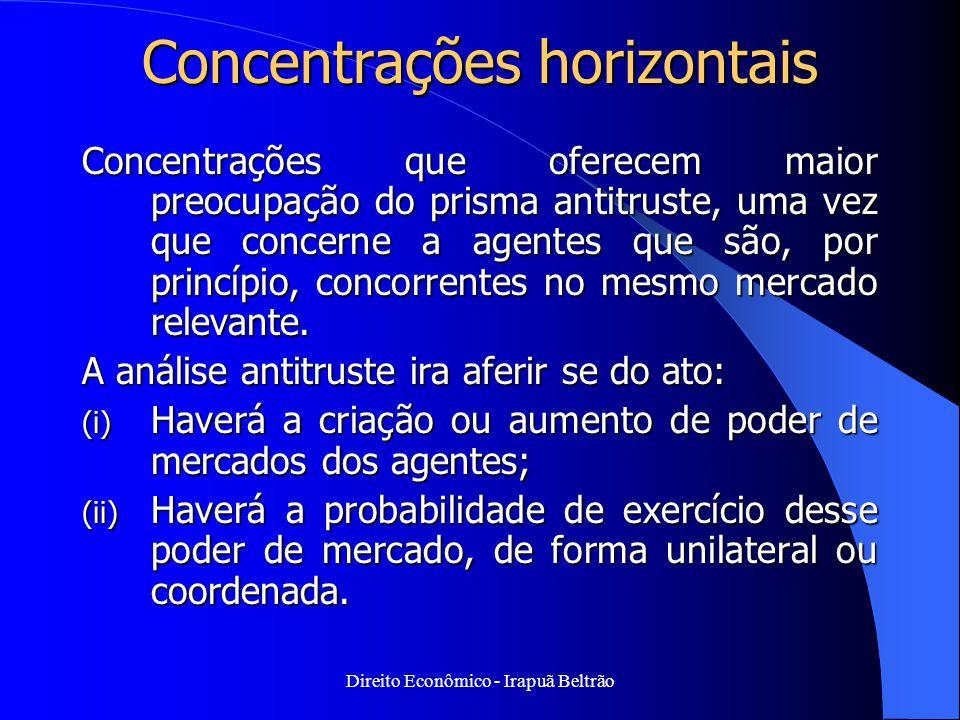 Direito Econômico - Irapuã Beltrão Concentrações horizontais Concentrações que oferecem maior preocupação do prisma antitruste, uma vez que concerne a