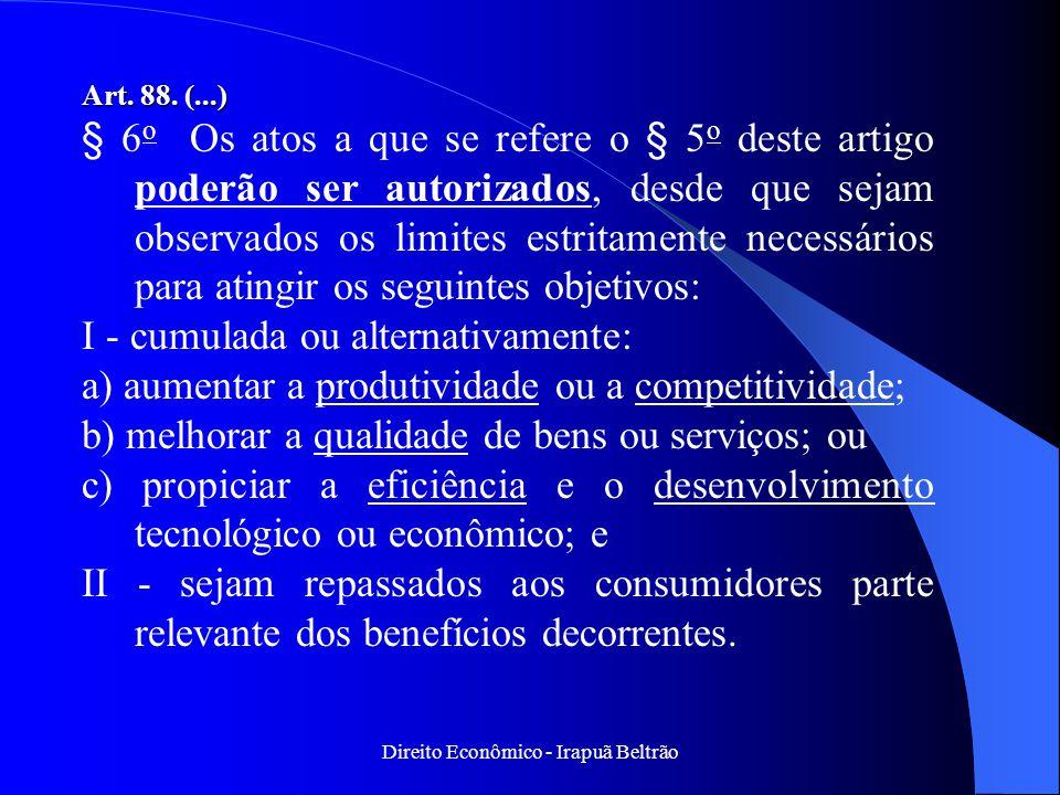 Direito Econômico - Irapuã Beltrão Art. 88. (...) § 6 o Os atos a que se refere o § 5 o deste artigo poderão ser autorizados, desde que sejam observad