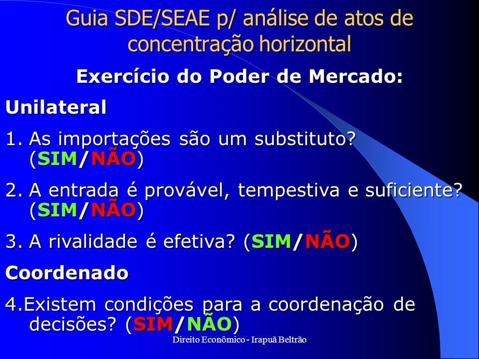 Direito Econômico - Irapuã Beltrão Guia SDE/SEAE p/ análise de atos de concentração horizontal Exercício do Poder de Mercado: Unilateral 1.As importaç