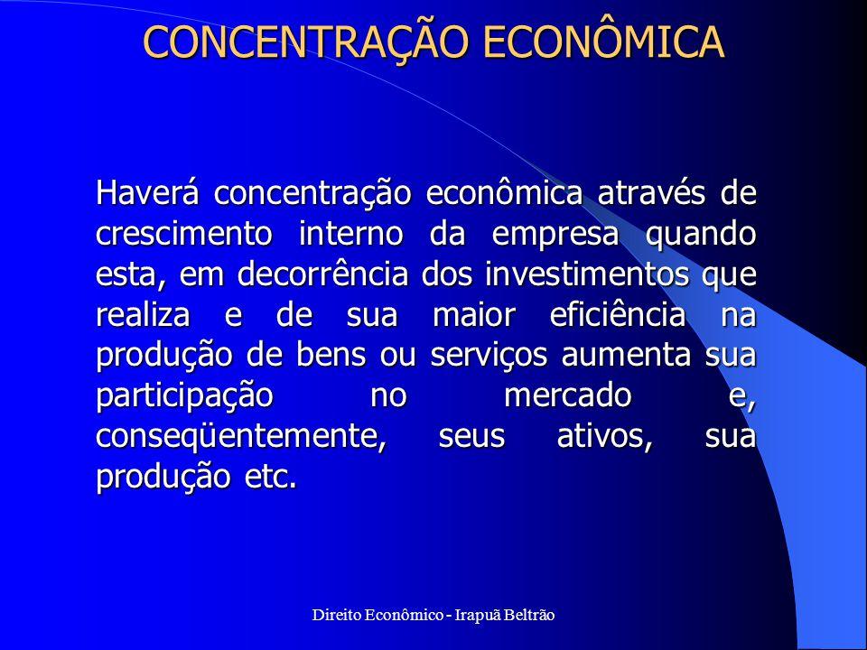Direito Econômico - Irapuã Beltrão CONCENTRAÇÃO ECONÔMICA Haverá concentração econômica através de crescimento interno da empresa quando esta, em deco