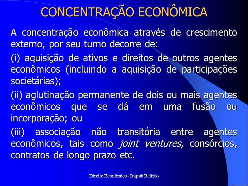 Direito Econômico - Irapuã Beltrão CONCENTRAÇÃO ECONÔMICA A concentração econômica através de crescimento externo, por seu turno decorre de: (i) aquis