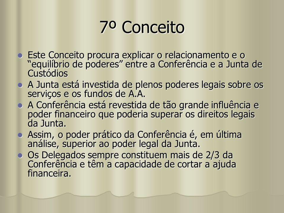 "7º Conceito Este Conceito procura explicar o relacionamento e o ""equilíbrio de poderes"" entre a Conferência e a Junta de Custódios Este Conceito procu"