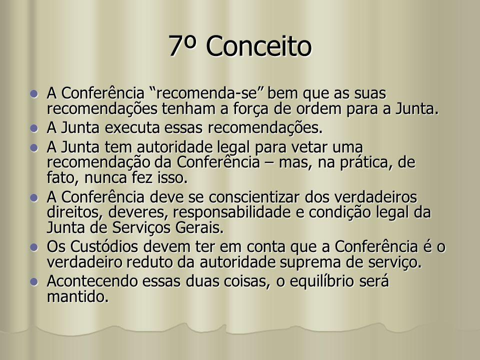 """7º Conceito A Conferência """"recomenda-se"""" bem que as suas recomendações tenham a força de ordem para a Junta. A Conferência """"recomenda-se"""" bem que as s"""