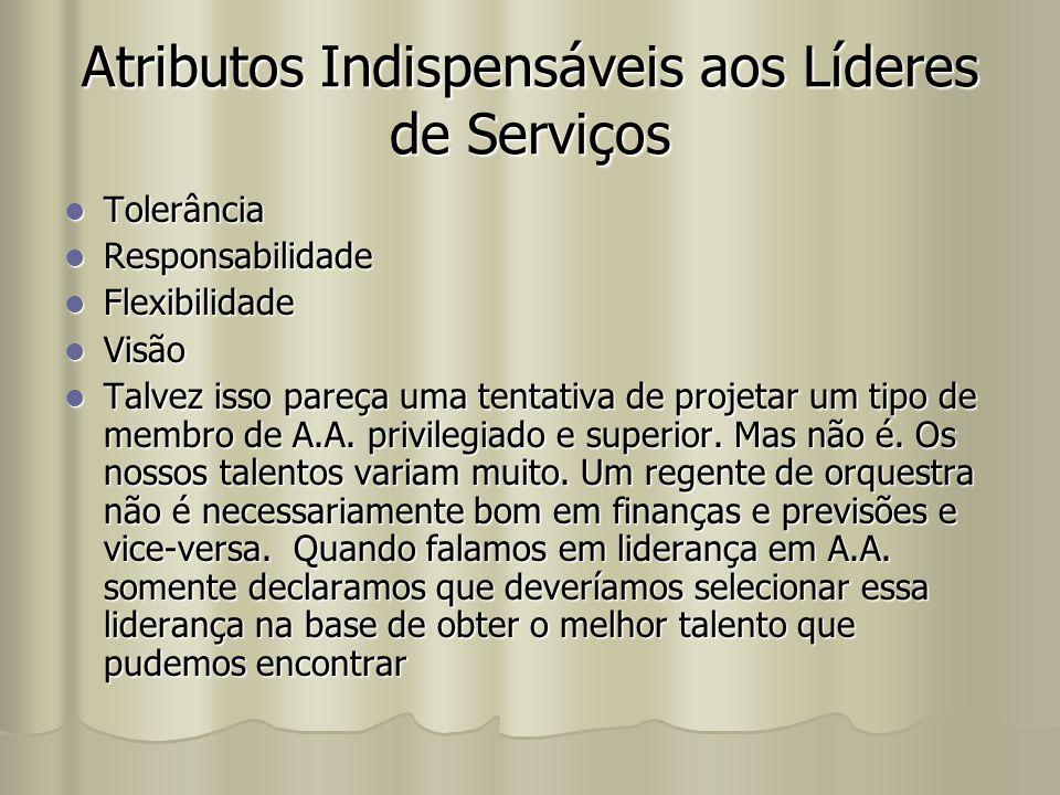 Atributos Indispensáveis aos Líderes de Serviços Tolerância Tolerância Responsabilidade Responsabilidade Flexibilidade Flexibilidade Visão Visão Talve