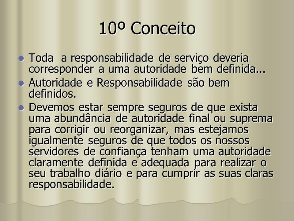 10º Conceito Toda a responsabilidade de serviço deveria corresponder a uma autoridade bem definida... Toda a responsabilidade de serviço deveria corre