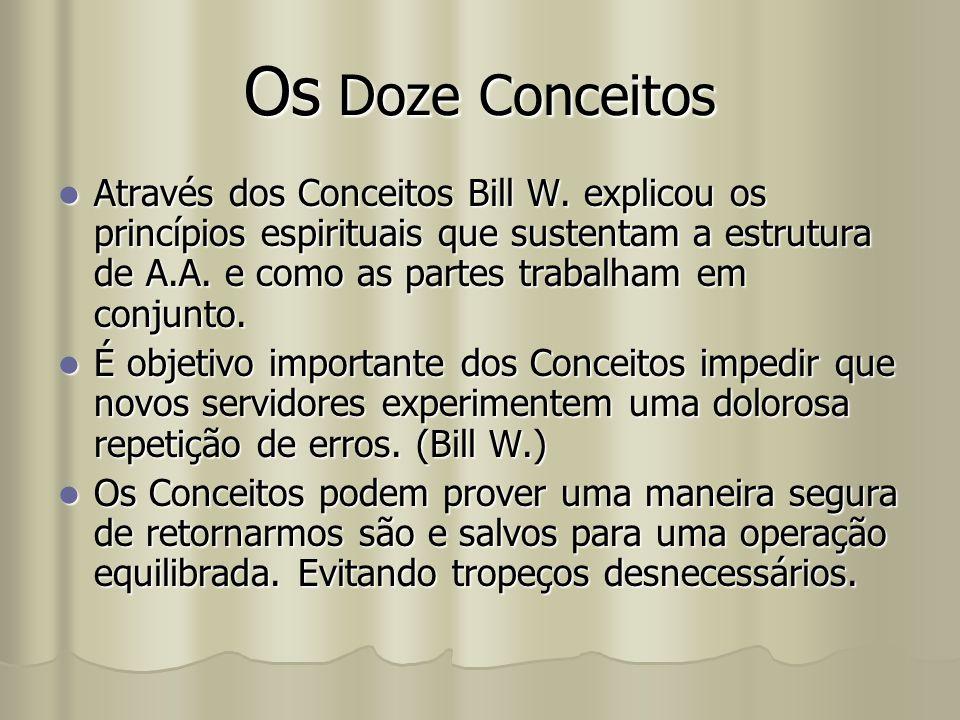 Os Doze Conceitos Através dos Conceitos Bill W. explicou os princípios espirituais que sustentam a estrutura de A.A. e como as partes trabalham em con