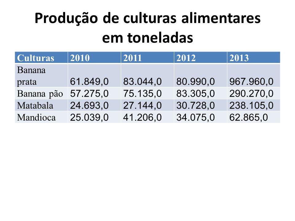 Produção de culturas alimentares em toneladas Culturas2010201120122013 Banana prata 61.849,083.044,080.990,0967.960,0 Banana pão 57.275,075.135,083.305,0290.270,0 Matabala 24.693,027.144,030.728,0238.105,0 Mandioca 25.039,041.206,034.075,062.865,0