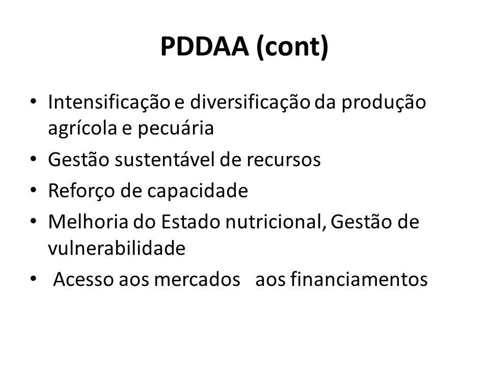 PDDAA (cont) Intensificação e diversificação da produção agrícola e pecuária Gestão sustentável de recursos Reforço de capacidade Melhoria do Estado nutricional, Gestão de vulnerabilidade Acesso aos mercados aos financiamentos