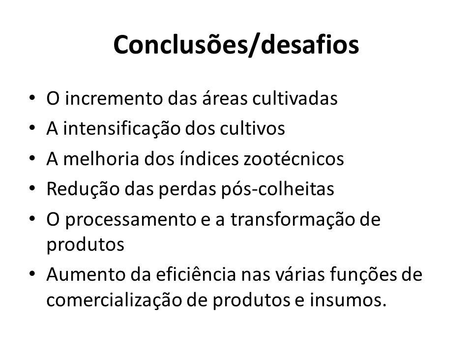 Conclusões/desafios O incremento das áreas cultivadas A intensificação dos cultivos A melhoria dos índices zootécnicos Redução das perdas pós-colheitas O processamento e a transformação de produtos Aumento da eficiência nas várias funções de comercialização de produtos e insumos.
