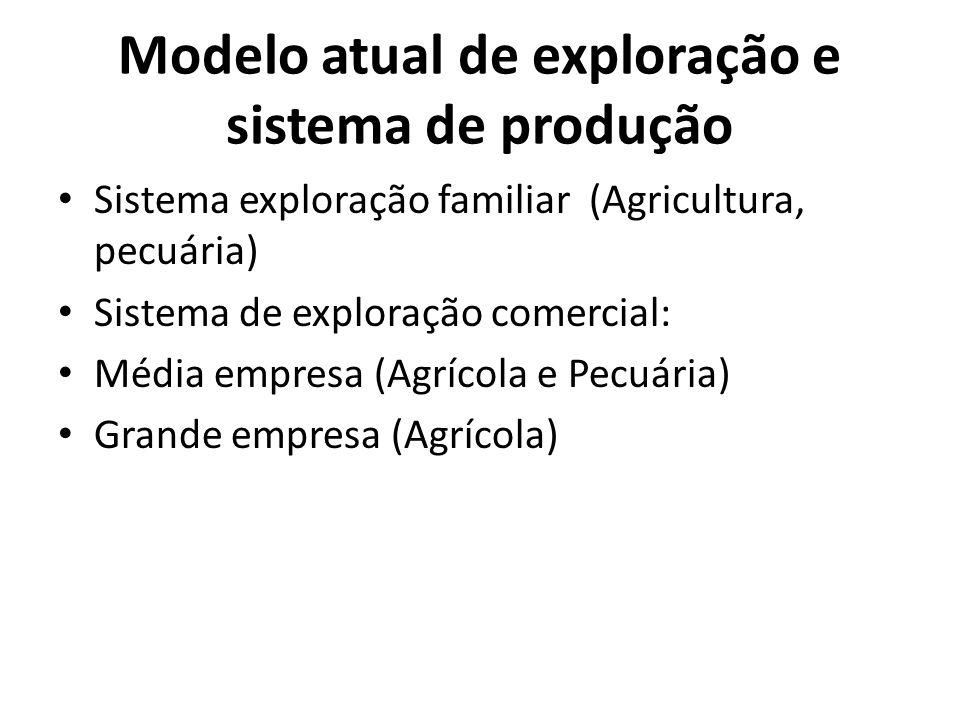 Modelo atual de exploração e sistema de produção Sistema exploração familiar (Agricultura, pecuária) Sistema de exploração comercial: Média empresa (A