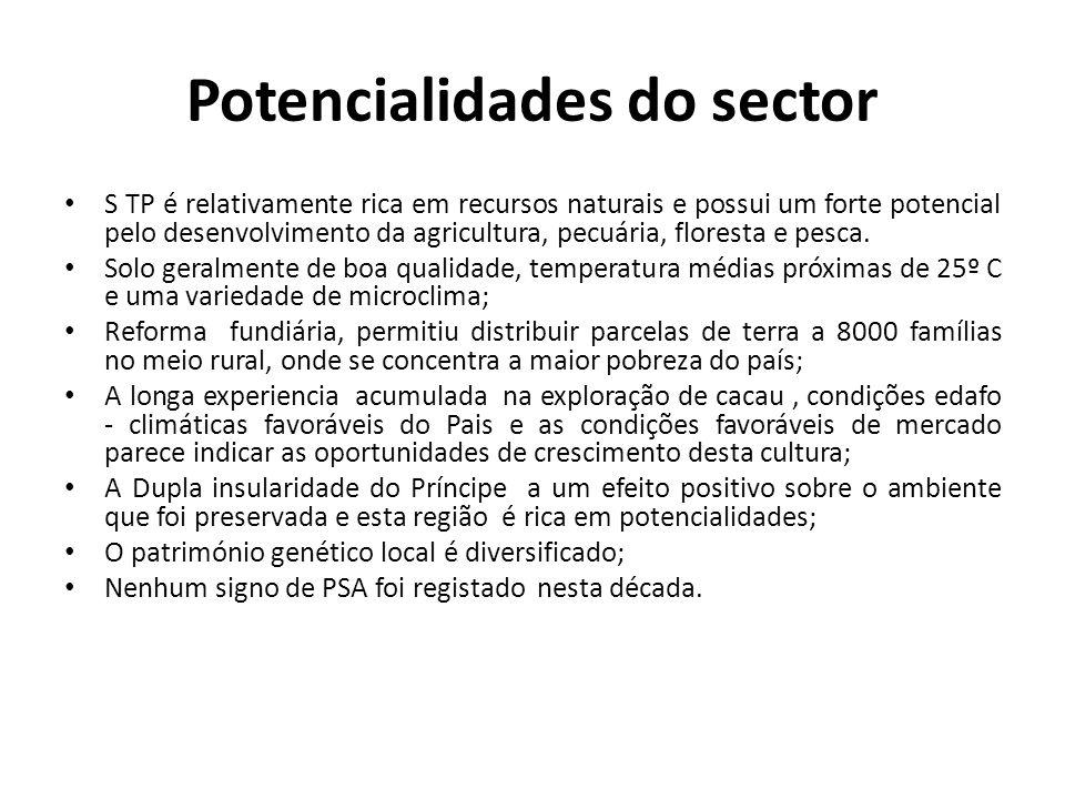 Potencialidades do sector S TP é relativamente rica em recursos naturais e possui um forte potencial pelo desenvolvimento da agricultura, pecuária, floresta e pesca.