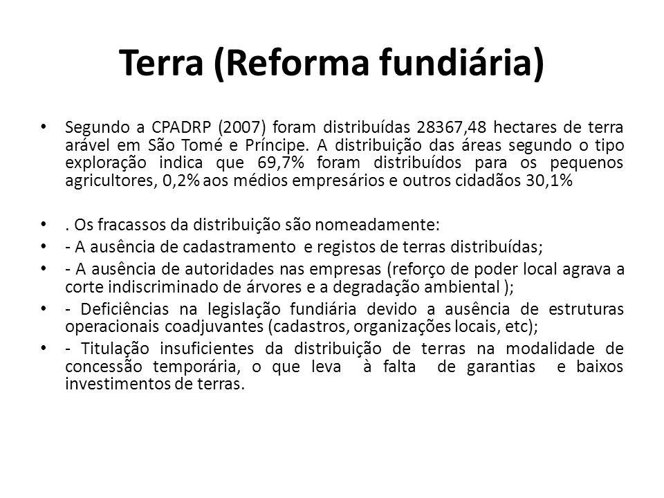 Terra (Reforma fundiária) Segundo a CPADRP (2007) foram distribuídas 28367,48 hectares de terra arável em São Tomé e Príncipe. A distribuição das área