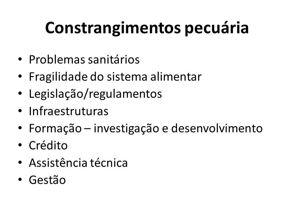 Constrangimentos pecuária Problemas sanitários Fragilidade do sistema alimentar Legislação/regulamentos Infraestruturas Formação – investigação e dese