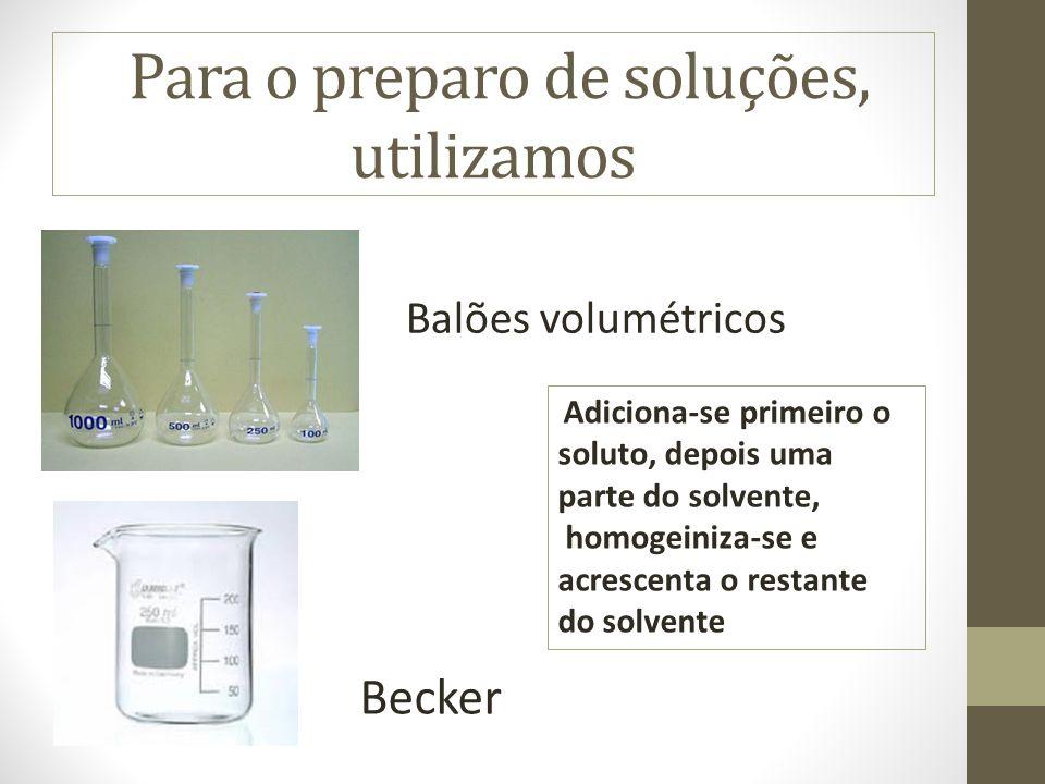 Para o preparo de soluções, utilizamos Balões volumétricos Becker Adiciona-se primeiro o soluto, depois uma parte do solvente, homogeiniza-se e acresc