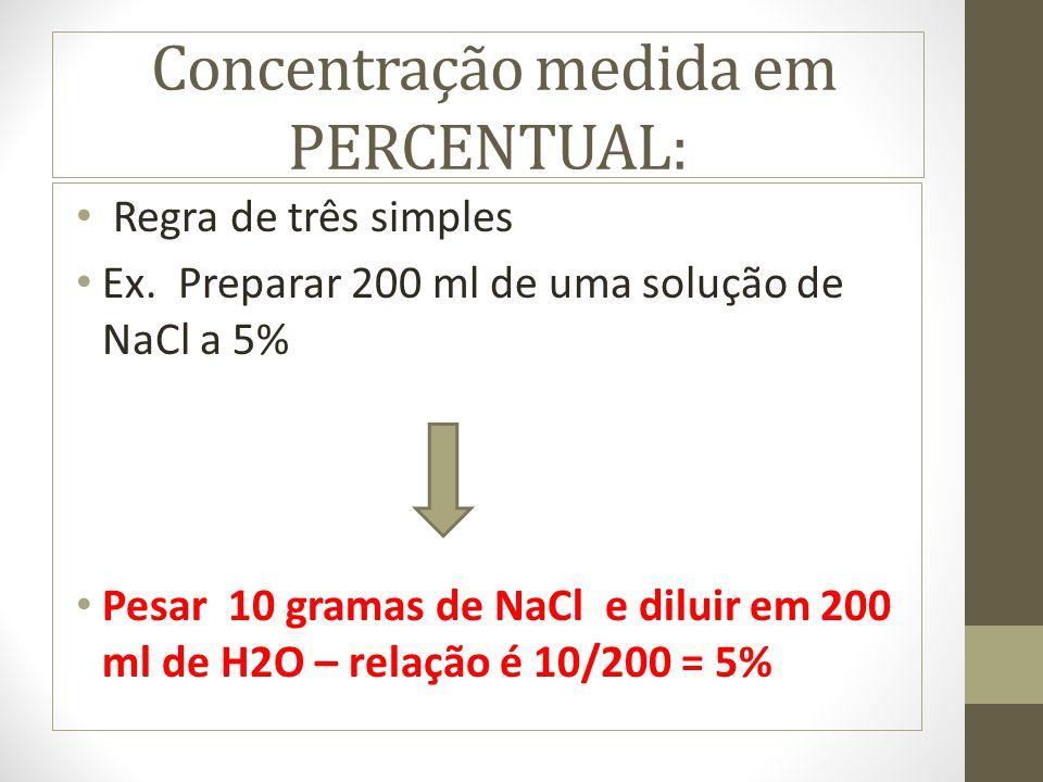 Concentração medida em PERCENTUAL: Regra de três simples Ex. Preparar 200 ml de uma solução de NaCl a 5% Pesar 10 gramas de NaCl e diluir em 200 ml de