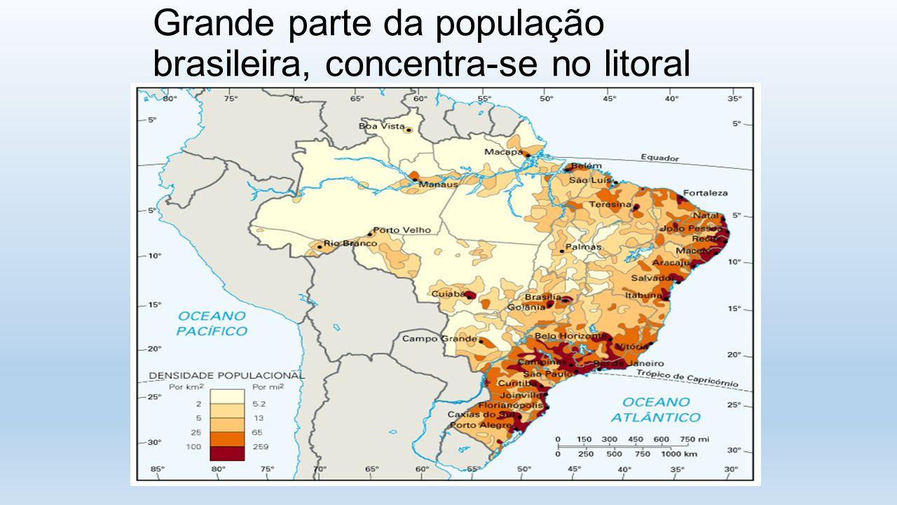 Grande parte da população brasileira, concentra-se no litoral