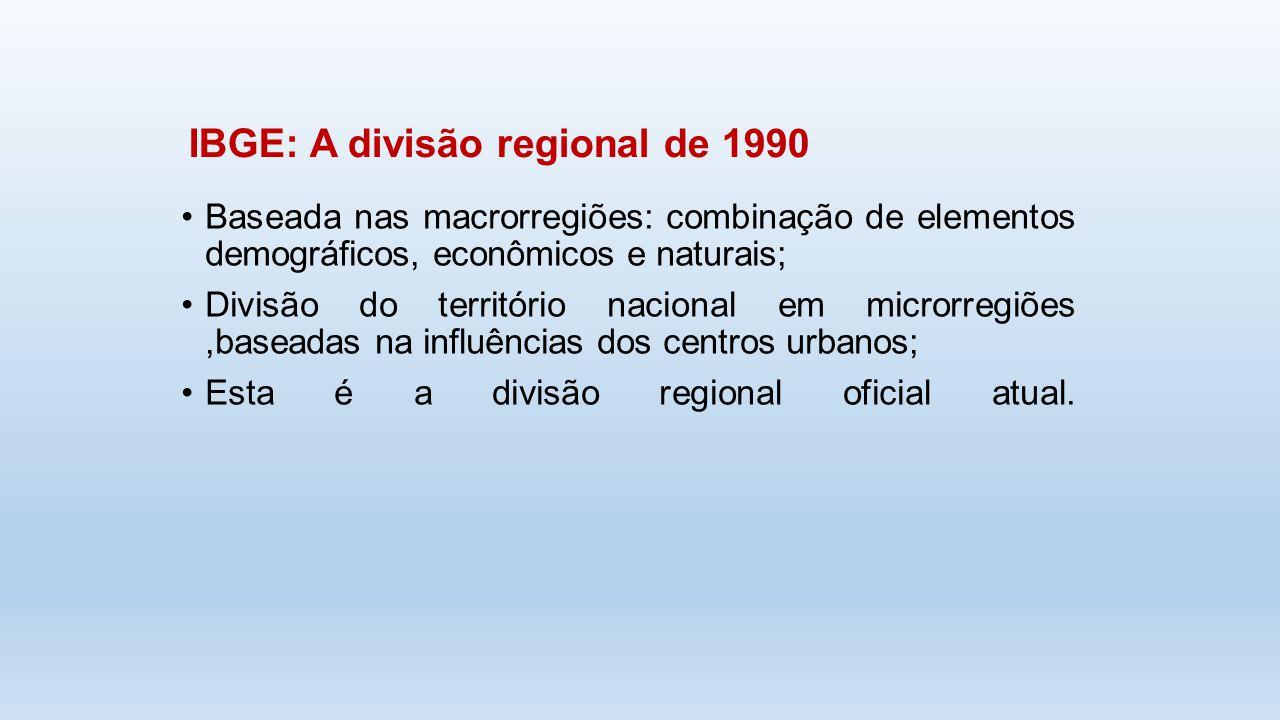 Baseada nas macrorregiões: combinação de elementos demográficos, econômicos e naturais; Divisão do território nacional em microrregiões,baseadas na in