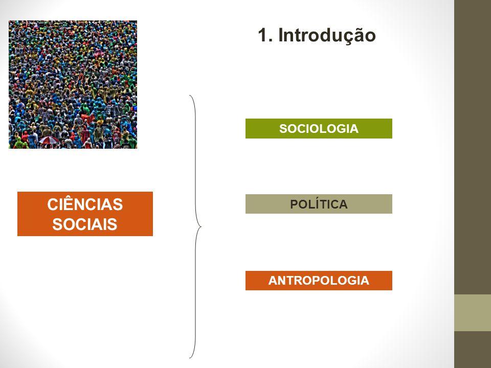 CIÊNCIAS SOCIAIS SOCIOLOGIA POLÍTICA ANTROPOLOGIA 1. Introdução