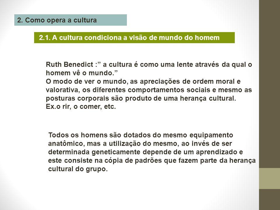"""2. Como opera a cultura 2.1. A cultura condiciona a visão de mundo do homem Ruth Benedict :"""" a cultura é como uma lente através da qual o homem vê o m"""