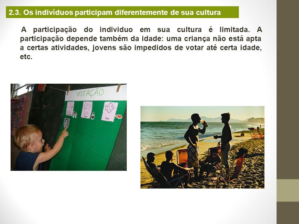 2.3. Os indivíduos participam diferentemente de sua cultura A participação do individuo em sua cultura é limitada. A participação depende também da id