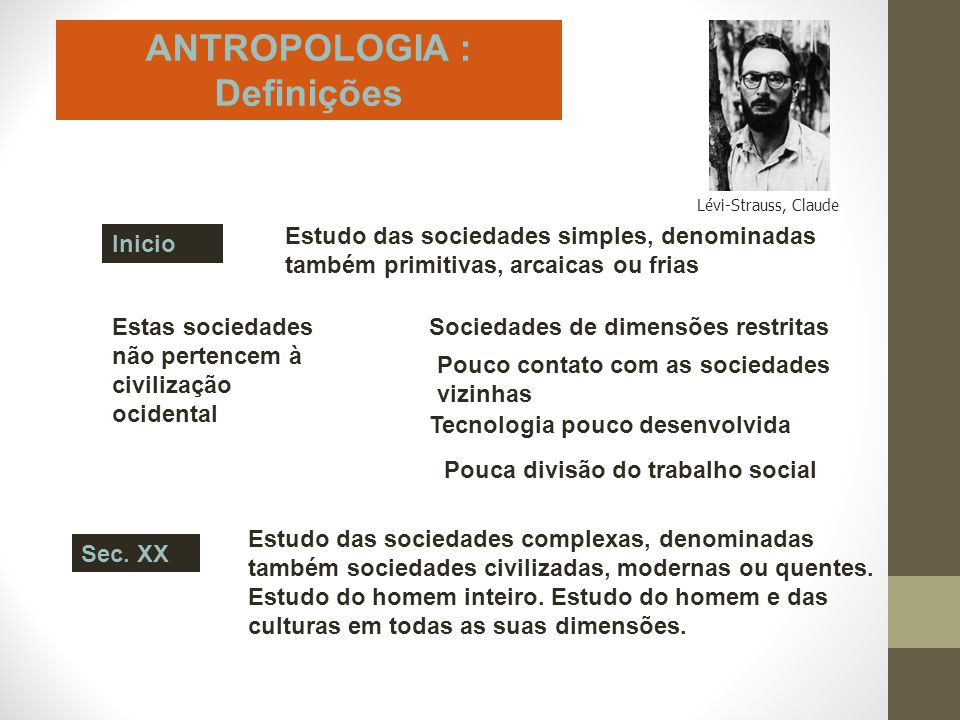 ANTROPOLOGIA : Definições Inicio Estudo das sociedades simples, denominadas também primitivas, arcaicas ou frias Estas sociedades não pertencem à civi