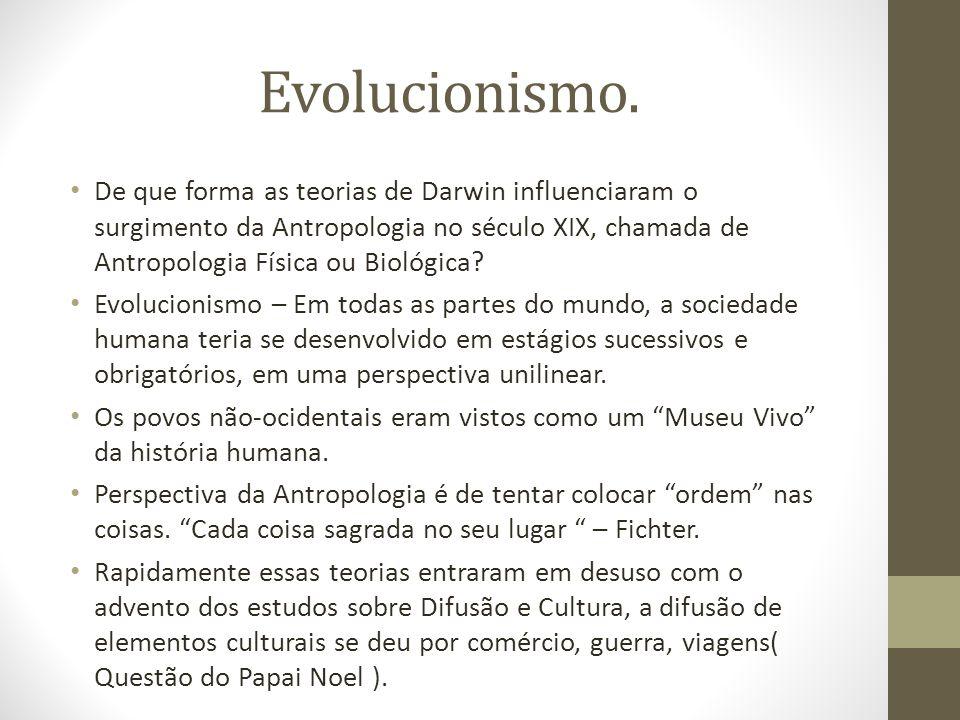 Evolucionismo. De que forma as teorias de Darwin influenciaram o surgimento da Antropologia no século XIX, chamada de Antropologia Física ou Biológica