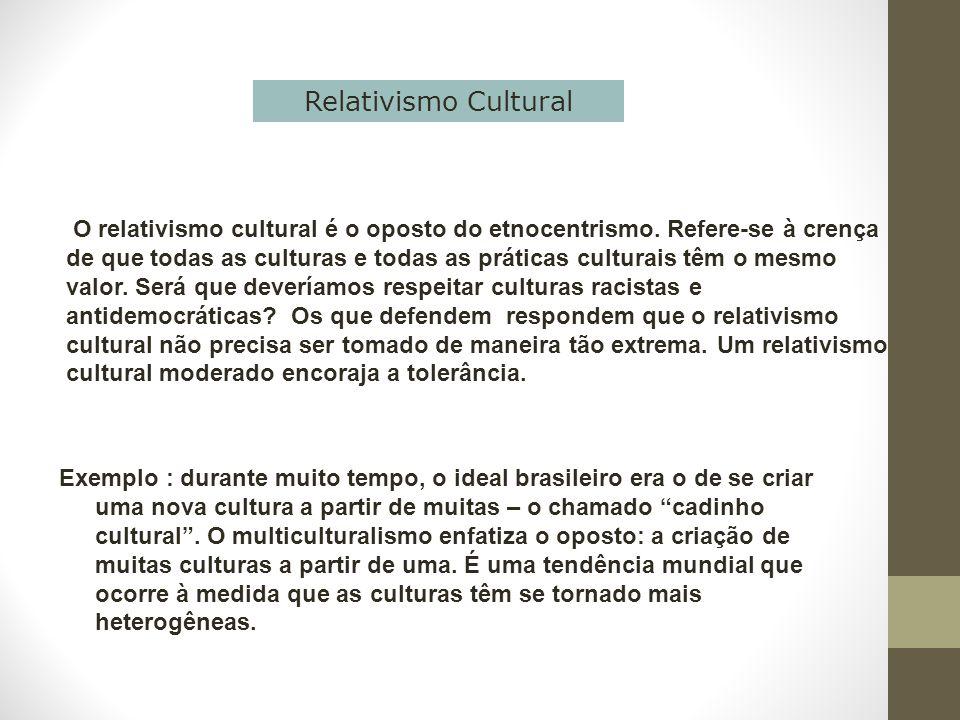 O relativismo cultural é o oposto do etnocentrismo. Refere-se à crença de que todas as culturas e todas as práticas culturais têm o mesmo valor. Será
