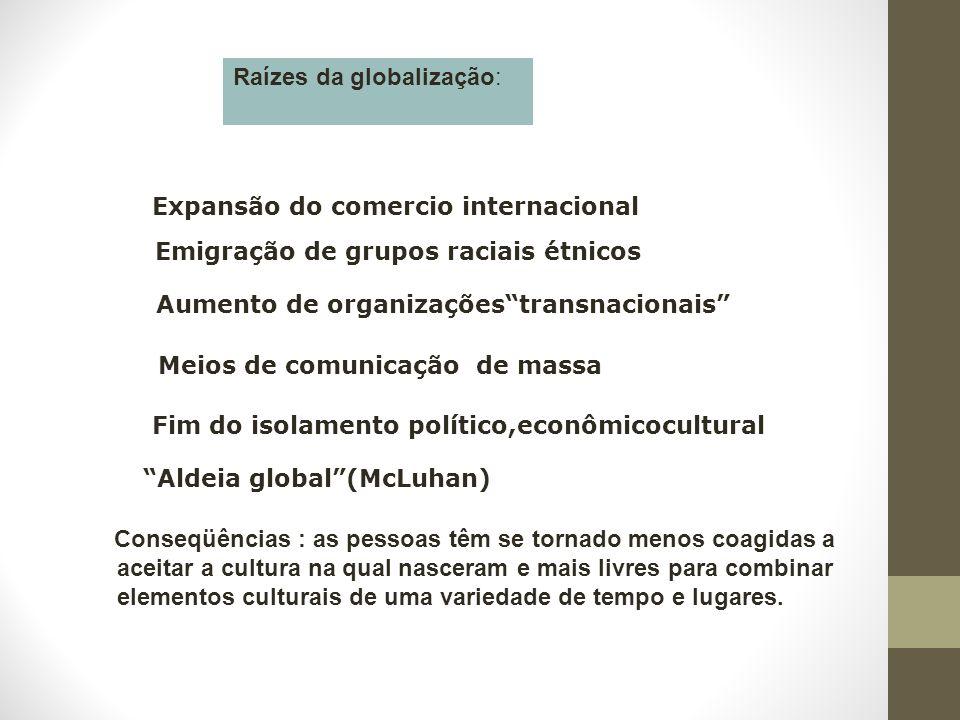 """Raízes da globalização: Expansão do comercio internacional Emigração de grupos raciais étnicos Aumento de organizações""""transnacionais"""" Meios de comuni"""