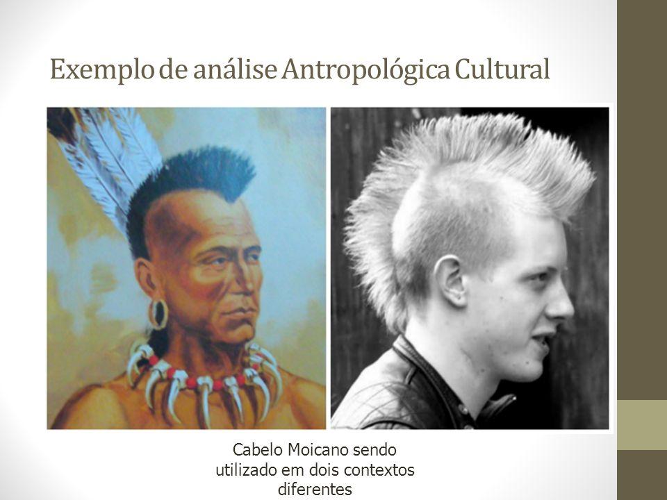 Exemplo de análise Antropológica Cultural Cabelo Moicano sendo utilizado em dois contextos diferentes