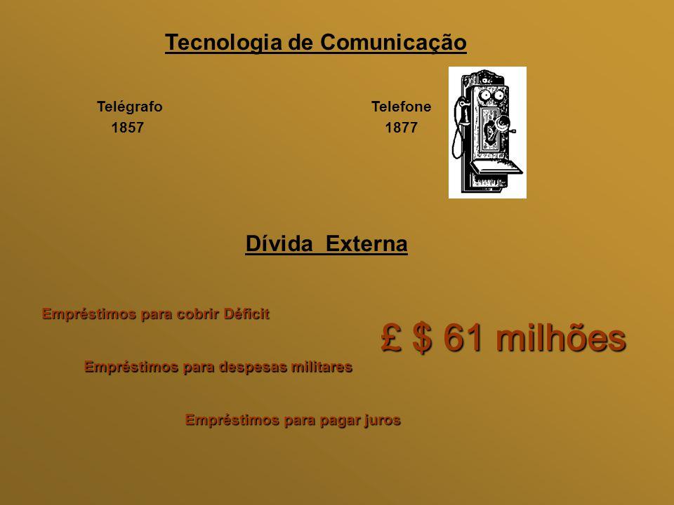 Tecnologia de Comunicação Telégrafo 1857 Telefone 1877 Dívida Externa Empréstimos para cobrir Déficit Empréstimos para despesas militares Empréstimos