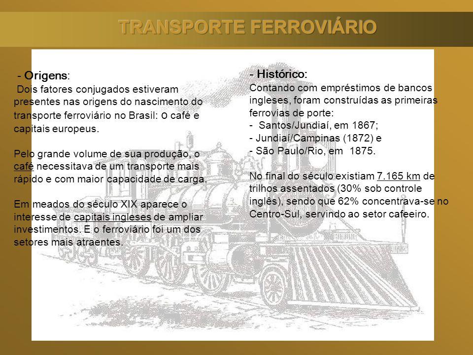 - Origens: Dois fatores conjugados estiveram presentes nas origens do nascimento do transporte ferroviário no Brasil: o café e capitais europeus. Pelo