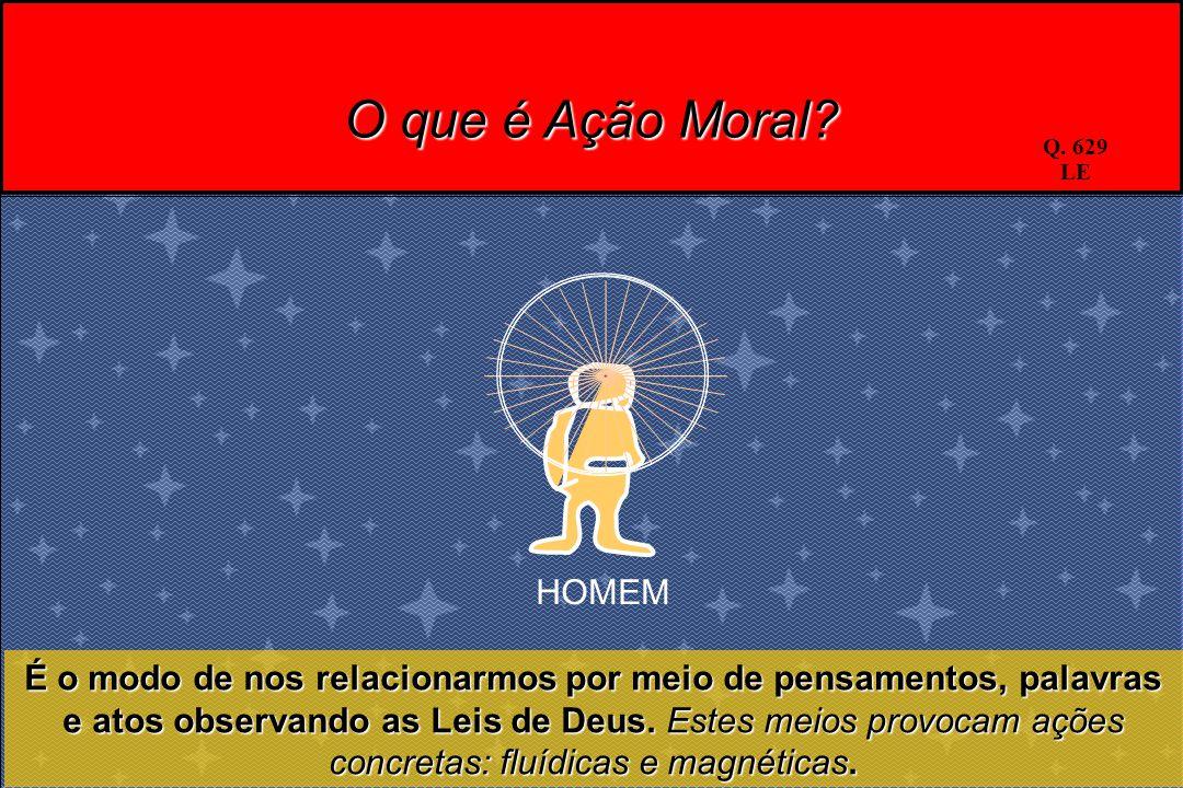 O que é Ação Moral? É o modo de nos relacionarmos por meio de pensamentos, palavras e atos observando as Leis de Deus. Estes meios provocam ações conc