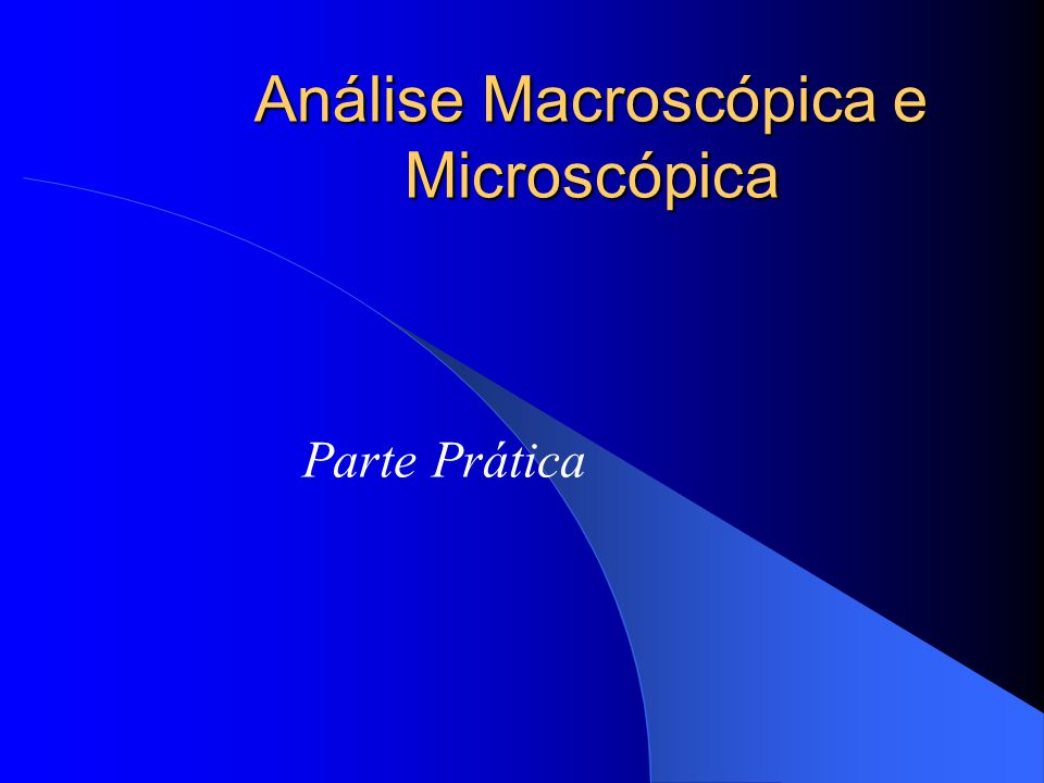 Análise Macroscópica e Microscópica Parte Prática