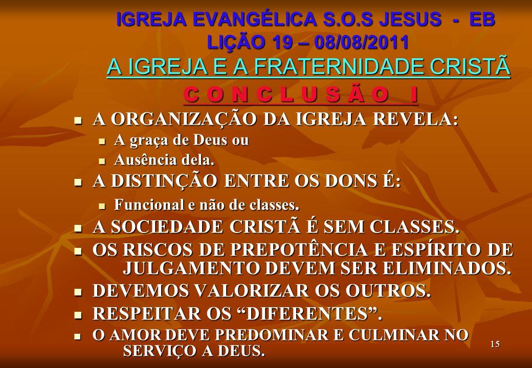 15 C O N C L U S Ã O I A ORGANIZAÇÃO DA IGREJA REVELA: A ORGANIZAÇÃO DA IGREJA REVELA: A graça de Deus ou A graça de Deus ou Ausência dela. Ausência d