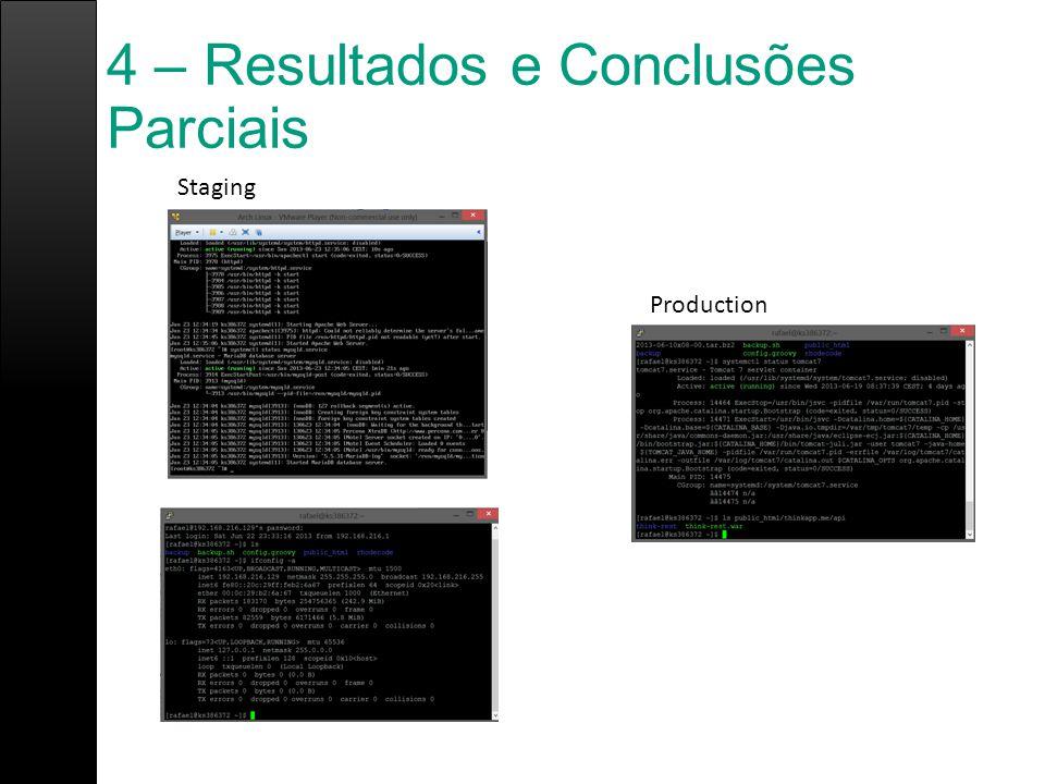 4 – Resultados e Conclusões Parciais Staging Production