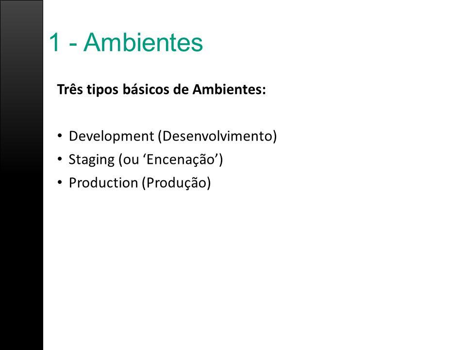 1 - Ambientes Três tipos básicos de Ambientes: Development (Desenvolvimento) Staging (ou 'Encenação') Production (Produção)