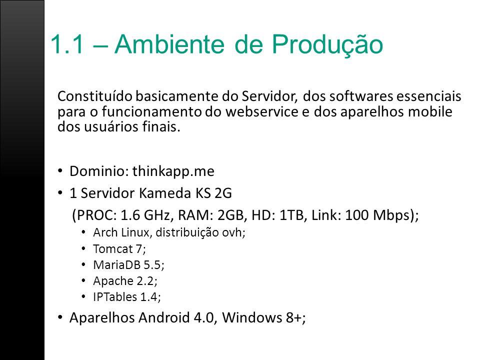 1.1 – Ambiente de Produção Constituído basicamente do Servidor, dos softwares essenciais para o funcionamento do webservice e dos aparelhos mobile dos